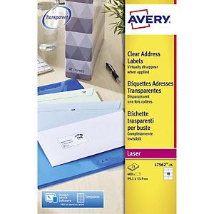 Avery Etiquetas de dirección para impresoras láser, 99,1 x 33,9 mm, 25 hojas, 16 etiquetas por hoja, autoadhesivas, transparentes