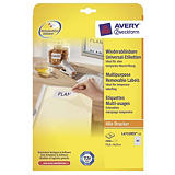 Avery Etiquetas multiusos para todo tipo de impresoras, 35,6 x 16,9 mm, 25 hojas, 80 etiquetas por hoja, autoadhesivas, blancas