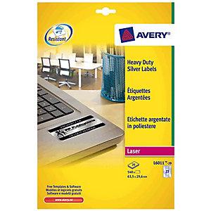 Avery Etiquetas de uso intensivo para impresoras láser en blanco y negro, 63,5 x 29,6 mm, 20 hojas, 27 etiquetas por hoja, plata