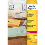 Avery - étiquettes adresses - 525 étiquette(s)##Avery Laser Etiket transparant, L7560-25m, 63,5 x 38,1 mm, 21 etiketten per vel (25 vel)
