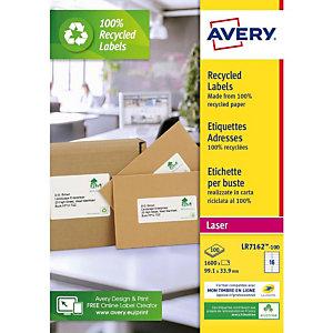 AVERY Etiquettes auto-adhésives d'adresses recyclées, faciles à décoller,  99,1 X 33,9 mm - 100 feuilles, 16 étiquettes par feuilles A4 - Blanches
