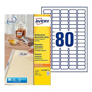 Avery Étiquettes multi-usage amovibles toutes les imprimantes, 35,6x16,9mm, 25feuilles, 80étiquettes par feuille, auto-adhésives, blanc