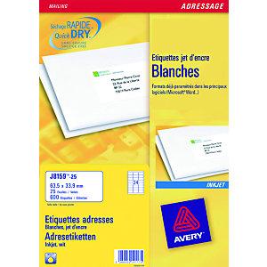 Avery J8159 Etiquettes d'adresse blanches imprimantes jet d'encre 63,5 x 33,9 mm - 100 feuilles - 2400 étiquettes