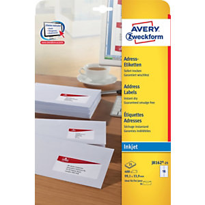Avery J8162 Etiquettes d'adresses blanches imprimantes jet d'encre 99,1 x 33,9 mm - 25 feuilles - 400 étiquettes