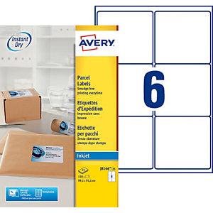 Avery J8166 Etiquettes d'expédition opaques blanches 99,1 x 93,1 mm - 25 feuilles - 150 étiquettes