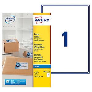 Avery J8167 Etiquettes d'adresse blanches imprimantes jet d'encre 199,6x289,1mm - 25feuilles - 25étiquettes