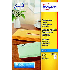 Avery J8563 Etiquettes laser transparentes 99,1 x 38,1 mm - 25 feuilles - 350 étiquettes