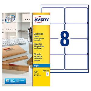 Avery J8565 Etiquettes transparentes imprimante jet d'encre 99,1 x 67,7 mm - 25 feuilles - 200 étiquettes