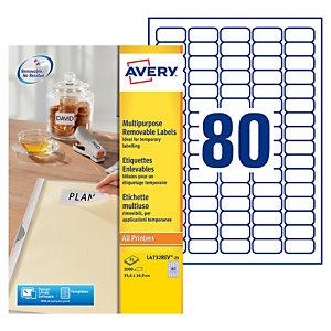 Avery L4732REV Etiquettes enlevables 35,6x16,9mm blanches imprimantes jet d'encre et laser - 25feuilles - 2000étiquettes