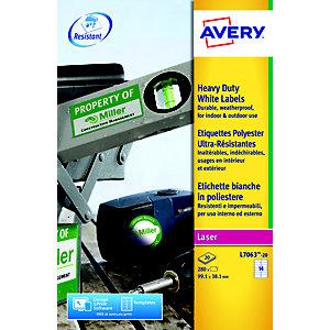 Avery L7063 Etiquettes ultra-résistantes pour imprimantes laser, 99,1 x 38,1 mm, 20 feuilles, 14 étiquettes par feuille, blanc
