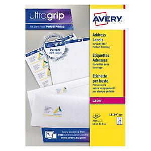 Avery L7159 Mini-étiquettes d'adresse permanentes pour imprimantes laser, 63,5x33,9mm, 100feuilles, 24étiquettes par feuille, auto-adhésives, blanc