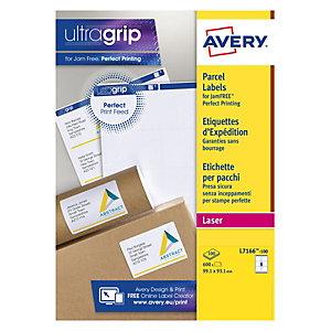 Avery L7166 Etiquettes auto-adhésives d'expédition opaques,  L.99,1 X H.93,1 mm - 100 feuilles, 6 étiquettes par feuilles A4 - Blanches