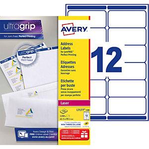 Avery L7177 Etiquettes d'adresses blanches imprimantes laser 99,1 X 42,3 mm - 100 feuilles - 1200 étiquettes