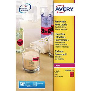 Avery L7263R Etiquettes enlevables 99,1x38,1mm rouge fluorescent imprimantes jet d'encre et laser - 25feuilles - 350étiquettes