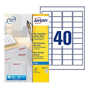 Avery mini étiquettes auto-adhésives d'adresses, 45.7 x 25.4 mm - 25 feuilles, 40 étiquettes par feuilles A4 - Blanches