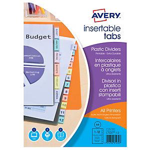 Avery Índices de archivado de 12 piezas, A4, polipropileno, colores variados