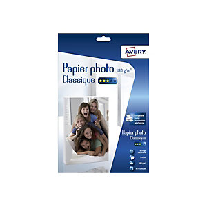 Avery Papier photo brillant A4 blanc 180g - Boîte de 40 feuilles