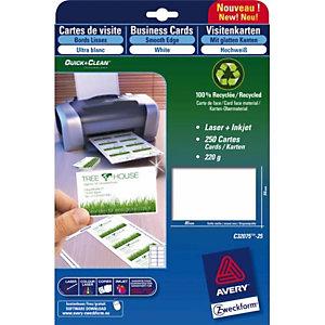 AVERY Paquet de 75 cartes de correspondance mate Laser 220g format 210x99mm Quick&Clean