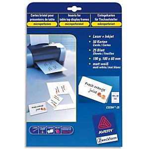 AVERY Pochette de 250 cartes de visite (85x54 mm) 270g coins droits Laser finition mate