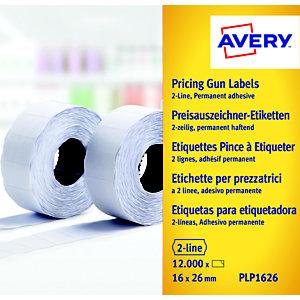 Avery Rouleau d'étiquettes pour pince à étiqueter  - 2 lignes - blanc - permanent