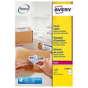 Avery Ultragrip Etichette per indirizzi per buste e pacchi, Per stampanti Laser, 199,6 x 143,5 mm, 15 fogli, 2 etichette per foglio, Bianco