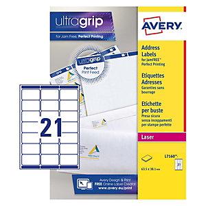 Avery Ultragrip Etichette per indirizzi per buste e pacchi, Per stampanti Laser, 63,5 x 38,1 mm, 15 fogli, 21 etichette per foglio, Bianco