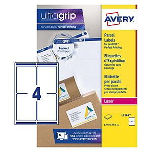 Avery Ultragrip Etichette per indirizzi per buste e pacchi, Per stampanti Laser, 99,1 x 139 mm, 15 fogli, 4 etichette per foglio, Bianco