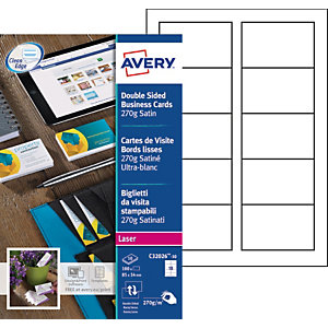 AVERY Visitekaartjes ultra wit, 85 x 54 mm, 270 grams, C32026