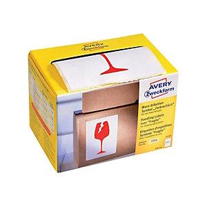 AVERY Zweckform Etichette prestampate in rotolo per spedizioni, Fragile, 74 x 100 mm, 200 etichette per rotolo