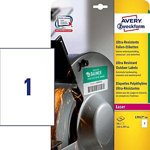 AVERY Zweckform Etichette ultra resistenti, Per stampanti laser, 210 x 297 mm, 10 fogli, 1 etichetta per foglio, Bianco