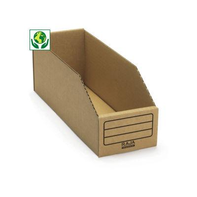 Bac à bec en carton brun##Bruine kartonnen magazijnbak