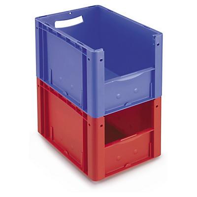 Bac gerbable couleur norme europe premium à ouverture frontale##Gekleurde euronorm stapelbak premium met open voorzijde