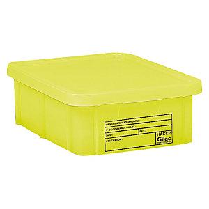 Bac jaune HACCP avec couvercle 12 L Gilac