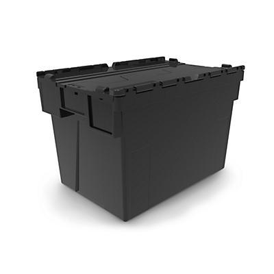 Bac navette avec couvercle noir 100 % recyclé##Koerierbak met zwart deksel 100% gerecycleerd