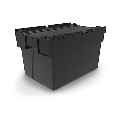 Bac navette avec couvercle noir 100% recyclé##Mehrwegbehälter mit grauem Deckel, 100% recyelt