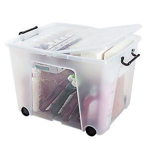 Bac de rangement multi-usages Strata by CEP 75L transparent avec roulettes