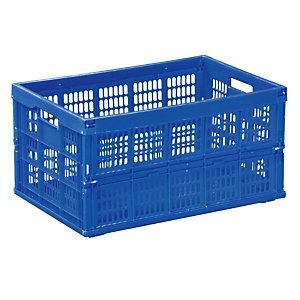 Bac de stockage pliant bleu en plastique 60 L