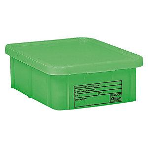 Bac vert HACCP avec couvercle 55 L Gilac