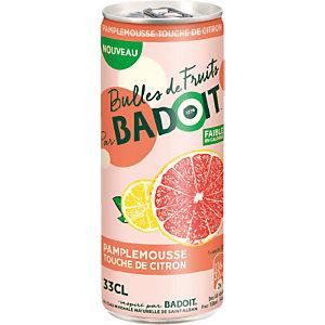 Badoit Bulles de fruits Eau minérale gazeuse Pamplemousse touche de citron - Canette de 33 cl