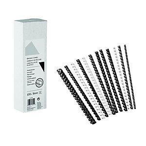 Baguette de reliure en plastique à anneaux de diamètre 8 mm -  Noir - Boîte de 100