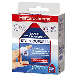 Bande auto-adhérente Stop Coupures Mercurochrome 2,5 cm x 3 m, lot de 2 bandes