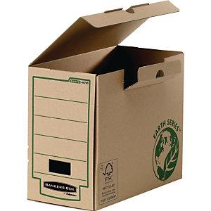 BANKERS BOX 20 Boîtes archives Earth Series carton, pour format A4 (210 x 297 mm), H. 254 mm x l. 15 cm x P. 319 mm - Kraft naturel - 100% recyclé certifié FSC