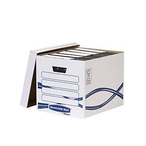 Bankers Box Basic Scatola archivio grande, Coperchio separato, 33 x 32 x 42 cm, Bianco/blu (confezione 10 pezzi)