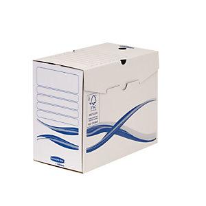 Bankers Box Basic Scatola archivio in cartone, Coperchio a ribalta, 150 mm, A4, Bianco, 255 x 150 x 342 mm, Confezione da 25 (confezione 25 pezzi)
