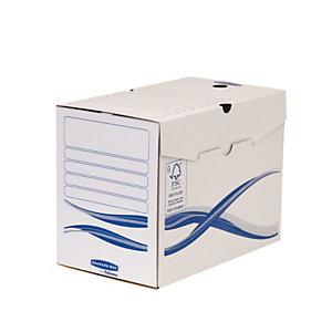 Bankers Box Basic Scatola archivio in cartone, Coperchio a ribalta, 200 mm, A4, Bianco, 255 x 200 x 342 mm, Confezione da 25 (confezione 25 pezzi)