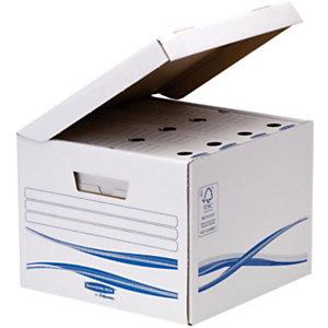 Bankers Box Basic Scatola in cartone, Coperchio a ribalta, Maxi, A4, Bianco, 280 x 356 x 554 mm, Confezione da 10 (confezione 10 pezzi)