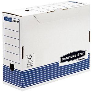 Bankers Box Boîte archives carton , pour format A4 (210 x 297 mm), H. 265 mm x l. 111 mm x P. 327 mm - Blanc / Bleu - 100 % recyclable, Montage automatique