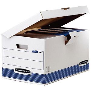 Bankers Box Caisse archives carton capacité jusqu'à 6 boîtes archives, pour format folio (216 x 330 mm), H. 31 cm x l. 56,5 cm x P. 39 cm - Blanc / Bleu - Montage automatique