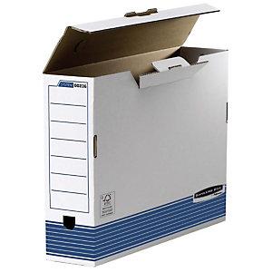 Bankers Box Caja Archivo Definitivo Cartón A3, Automontaje Fastfold, Tapa fija, Blanco y Azul, 440 x 108 x 320 mm