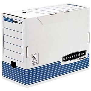 Bankers Box Caja Archivo Definitivo Cartón A4, Automontaje Fastfold, Tapa fija, Blanco y Azul, 325 mm x 264 mm x 150 mm